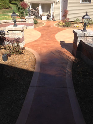 New Patio with Antique Stained Existing Walkway
