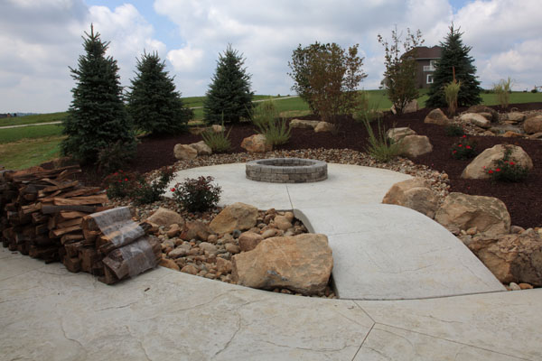 Rustic Stamped Concrete Firepit Patio