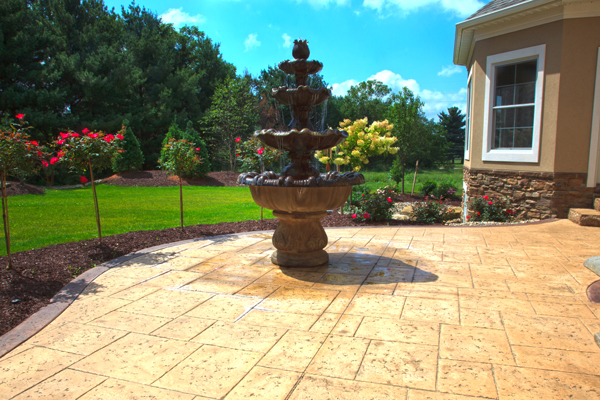 Stained Concrete Courtyard Fountain