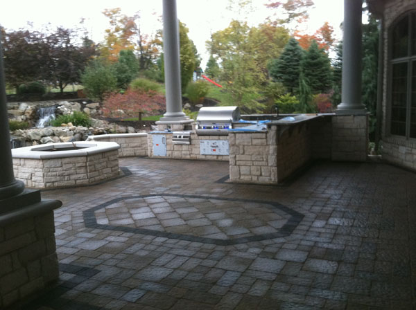 Covered Outdoor Kitchen and Gas Firepit