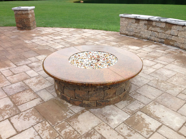 Exposed Aggregate Glass Firepit Top