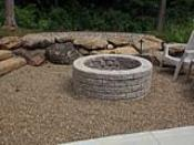 Wood Burning Firepit in Gravel Patio