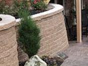 Landscape Retaining Wall with Lighting